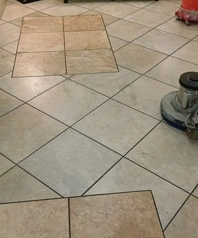 grout rhino cleaning entry lobby before